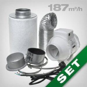 Aktivkohlefilter Abluft Lüftungsset inkl. Rohrventilator 187 m³h