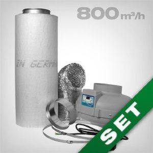 Aktivkohlefilter Lüftungsset inkl. Rohrventilator 420 800 m³h