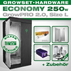 Growbox GrowPRO 2.0 L - Grow Set für Indoor Homegrow - 250W Grow Set Eco